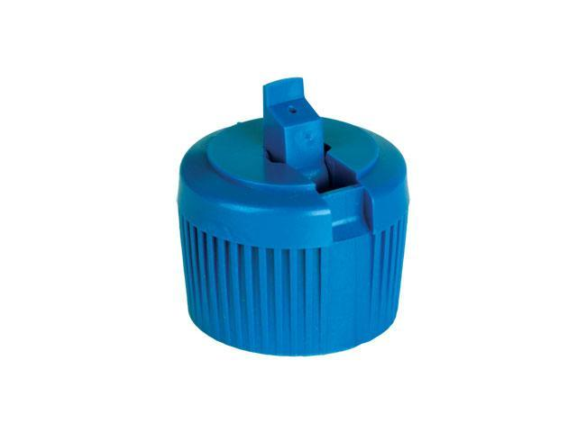 "SNDD-27246-BLUE DISPENSING CAP, RIBBED TURRET STYLE CLOSURE WITH A 28/410 FINISH AND A .031"" ORIFICE"