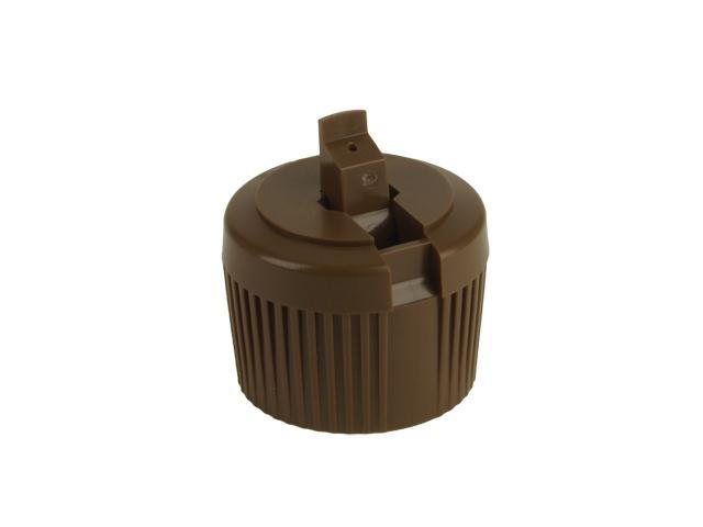 "SNDD-28132-CHOCOLATE BROWN DISPENSING CAP, RIBBED TURRET STYLE CLOSURE WITH A 28/410 FINISH AND A .040"" ORIFICE"