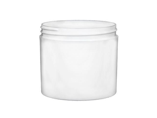 SNEJ-26207-WHITE PLASTIC JAR, 12 OZ. PP THICK WALL ROUND WITH AN 89/400 FINISH, SQUARE BASE