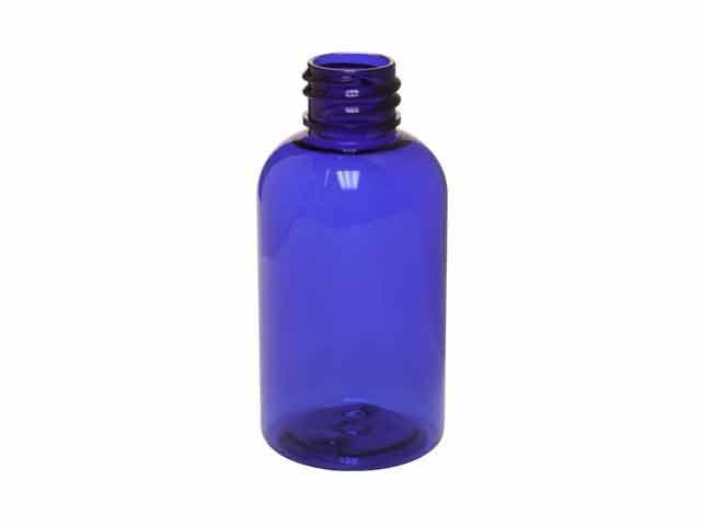 SNEP-23615-PLASTIC BOTTLE, 2 OZ PET BOSTON ROUND WITH A 20/410 FINISH-Cobalt Blue