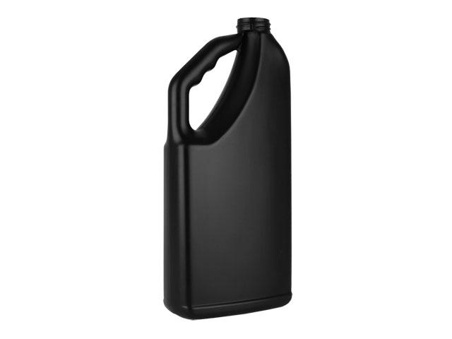 SNEP-26743-BLACK PLASTIC BOTTLE, 32 OZ. HDPE OBLONG WITH A 33/400 FINISH, HANDLEWARE WITH FINGER GRIP, LABEL PANEL