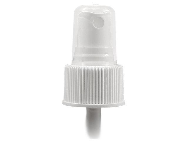 "WHITE FINE MIST SPRAYER 24/410 RIBBED FINISH WITH A CLEAR POLYPRO HOOD AND A 7"" DIP TUBE"