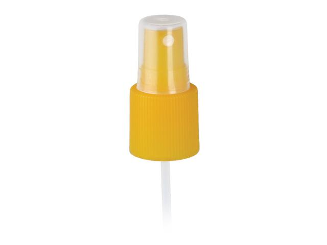 "SNHF-20527-YELLOW FINE MIST SPRAYER, 24/415 FINISH, EUROMIST HV, WITH A CLEAR PP HOOD AND A 7 1/4"" DIP TUBE, TRANSLUCENT"
