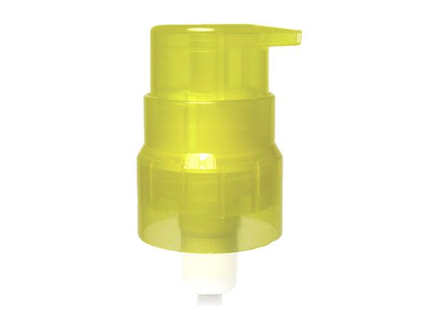 "SNHP-16112-TRANSLUCENT YELLOW COSMETIC TREATMENT PUMP, 22/410 FINISH, SMOOTH, LOCK UP STYLE WITH A 6 5/8"" DIP TUBE"