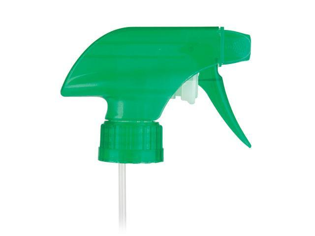 "SNHT-23048-TRANSLUCENT GREEN TRIGGER SPRAYER, 28/400 RATCHET FINISH, MIXOR-2 HP SPRAY/OFF WITH A 7 1/4"" DIP TUBE"