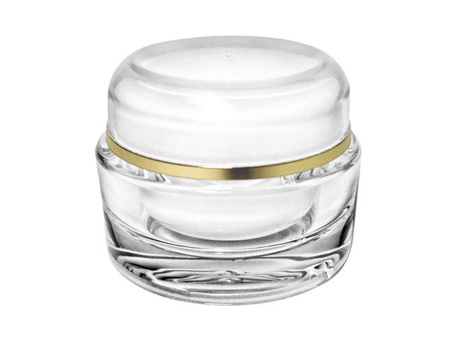 SNSET-Clear Acrylic Jar/Lid SET-60ml-ACRYLIC JAR, WHITE INNER CAP/BOWL, GOLD RIM LID 58mm Neck