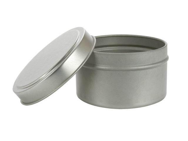 "SNSET-2181-6Oz Silver Mettalic TIN Plus LID SET, DEEP, SEAMLESS, 2.8""x1.80"""