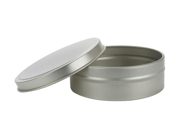 "SNSET-2182-4Oz Silver Metallic Tin/Lid Set-SHALLOW, SEAMLESS, 3.15""x1.05"""