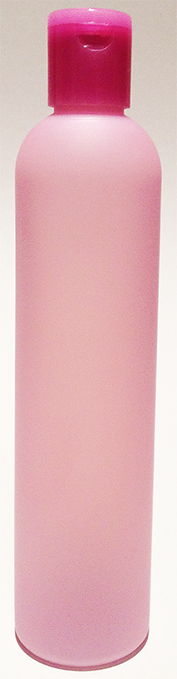 SNSET-25551-LIGHT LAVENDER PLASTIC BOTTLE, 325 ML HDPE BULLET, SOFT TOUCH, TRANSLUCENT WITH A Pink 24/415 Flip Top Dispensing Cap