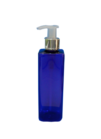 SNSET-SQ250PETCBMSNP-PET Plastic Bottle-Square-Cobalt Blue-250ml with Metallic Silver/Natural Pump