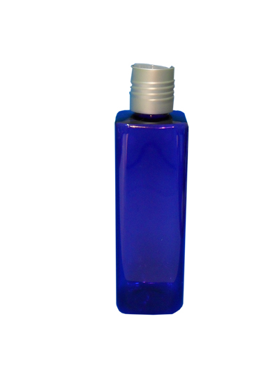 SNSET-SQ250PETCBSDTL-Plastic Bottle-Square-Cobalt Blue-250ml with Silver Disc Top Lid