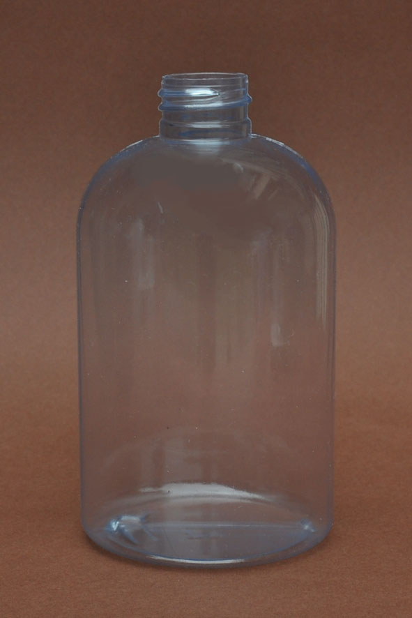 SNEP-500CLPETSB- 500ml Clear PVC Stocky Boston Bottle with 28/410 Neck