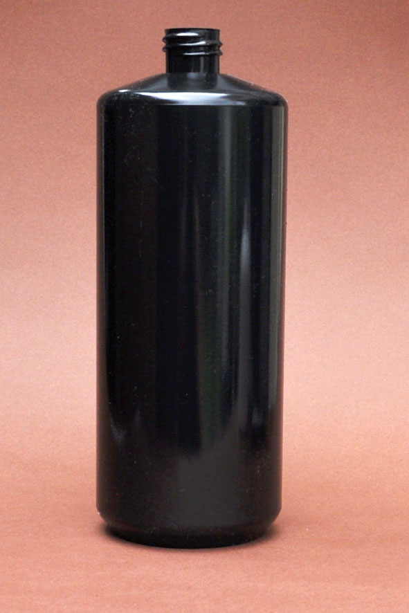 SNEP-50885-1000ml Black PET Cylindrical Bottle with Square Shoulder 28mm 410 Finish