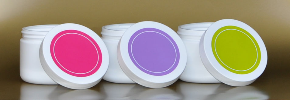SNFAM14J-3x 14Oz White Plastic Jars Plus 1 x 89/400 Purple/White Lid + 1 x 89/400 Pink/White Lid + 1 x 89/400 Green/White Lid