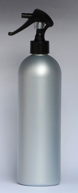 SNSET-28333A-16 OZ. SILVER HDPE BULLET WITH A 24/410 BLACK SWAN NECK SPRAYER