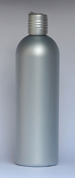 SNSET-28333C-16 OZ. SILVER HDPE BULLET WITH A 24/410 SILVER DISC TOP LID