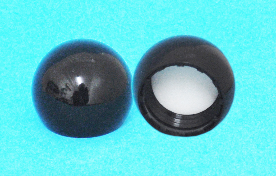 SNDR-30638-BLACK PLASTIC CAP, SMOOTH BALL STYLE CLOSURE WITH A 24/410 FINISH, INCLUDES A FOAM LINER