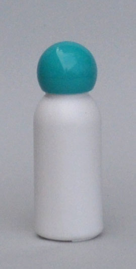 SNSET-4222-30ml White HDPE Boston Bottle with 18/415 Torquoise Dome Cap