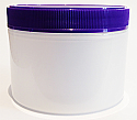 SNEJ-DWN180-Double Walled Natural Round Jar 180ml with Matching Purple ribbed lid