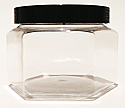 SNJ-24655FB-CLEAR PLASTIC JAR, 8 OZ PET HEXAGON WITH A FLAT BASE and Flat Smooth Black 70/400 Lid