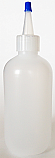 SNSB8OZNYCBT-8 Oz (~236ml) LDPE Natural Boston Squeezer Bottle with 24/410 Natural Yorker Cap with a Blue Tip