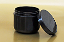 Plastic Jar 4 Oz Black- PP DOUBLE WALL ROUND WITH A 70/400 FINISH, ROUND BASE With Smooth Flat Black Lid