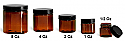 SNJARABL-0609-28-2 Oz (56.7g) Plastic Jar, Amber PET Straight Sided Jar (47mm H 50mm Dia) with 48/400 Black Smooth Plastic Lined Cap-2 Oz
