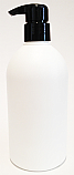 500ml White HDPE Boston Bottle with 28/410 Smooth Black Curved Pump