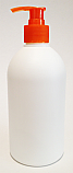 500ml White HDPE Boston Bottle with 28/410 Orange/Red Fine Ribbed Pump