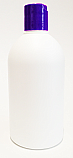 500ml White HDPE Boston Bottle with 28/410 Purple Disc Top Dispensing Lid