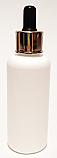 Plastic Dropper Bottle-100ml HDPE Boston Bottle with Shiny Metallic Silver Rimmed/Black Rubber Thumb Press Dropper