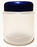 SNEJ-27058DB-NATURAL PLASTIC JAR, 4 OZ. PP SINGLE WALL ROUND WITH A DOMED BLUE 48/400 LID