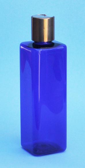 SNSET-THCBPETSQ250MCNDTL-Square PET Bottle Cobalt Blue Coloured 250ml with Metallic Copper/Natural 24/410 Disc Top Dispensing Lid