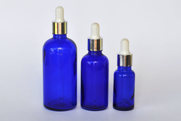 GDBCBSRW100-Glass Dropper Bottle Cobalt Blue Colour with Metallic Silver Rim with White Rubber thumb press-100ml
