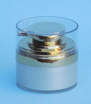 SNCTP50GS-Cosmetic Treatment Pump 50ml-Silver Base+Gold Pump/Lid and Clear Plastic Hood