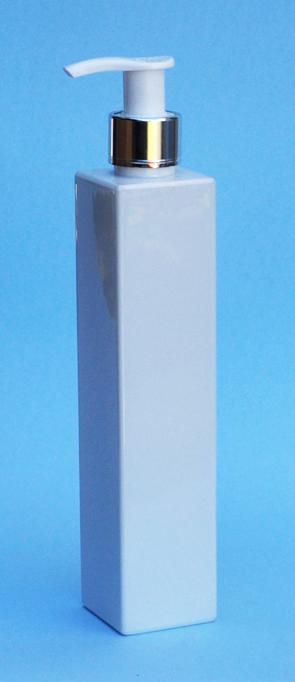 SNSET-THWPETSQ180MSWP-White Square PET Bottle 180ml with 24/410 Metallic Silver/White Pump