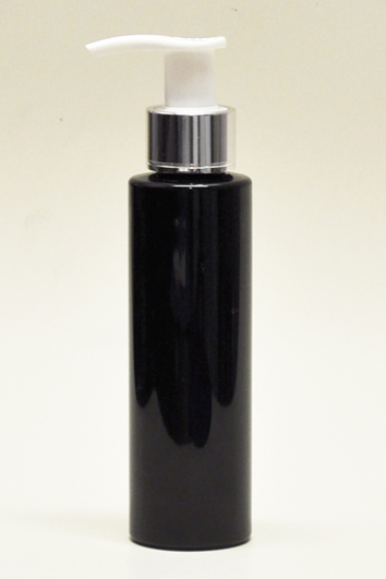 SNSET-4CYPETBMSWP-4Oz (118ml) Black PET Cylindrical Bottle with Metallic Silver/White Pump 24/410