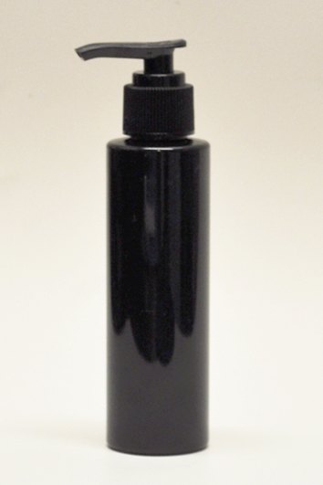SNSET-4CYPETBBP-4Oz (118ml) Black PET Cylindrical Bottle with Black Pump 24/410