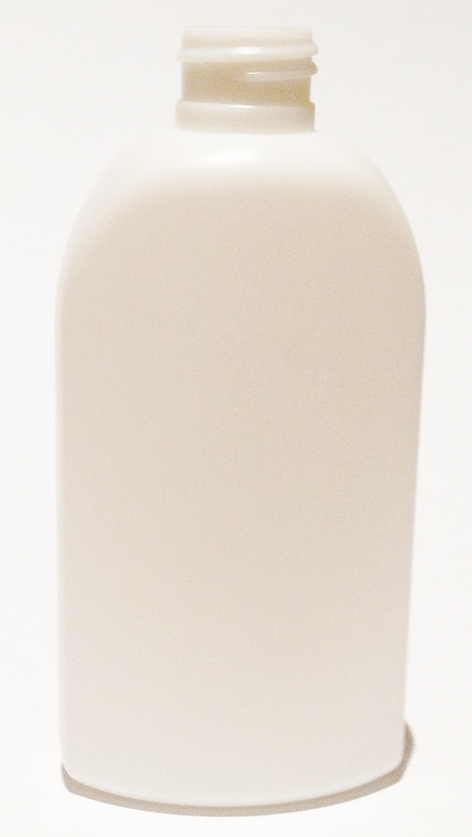 SNEP-23761-WHITE PLASTIC BOTTLE, 6 OZ. HDPE FLAT SIDED OVAL WITH A 24/410 FINISH