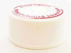 SNDC-CRCW33-White CHILD RESISTANT CAP, FINE RIBBED CLOSURE WITH A 33/400 FINISH, PICTORAL INSTRUCTIONS in Red on the Top