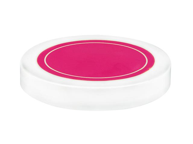 """SNDR-31005-WHITE/PINK PLASTIC JAR LID, SMOOTH CLOSURE WITH AN 89/400 FINISH, INCLUDES A """"PLAIN"""" HEAT SEAL/ PULP LINER, MATTE FINISH, SHINY PINK CIRCLE ON TOP"""