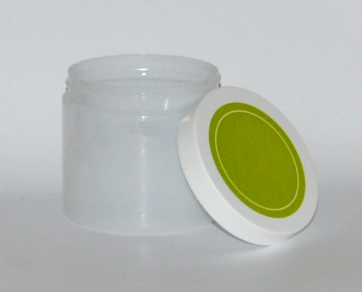 SNSETEJNGW-TRANSLUSCENT WHITE PLASTIC JAR, 16 OZ (~473ml) PET SINGLE WALL ROUND WITH AN 89/400 FINISH, ROUND BASE WITH GREEN/WHITE 89/400 matching Lid