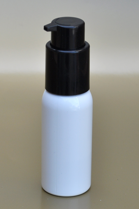 SNSET-50WBPETBSCP-50ml White Boston PET Bottle with Black Smooth Cosmetic Pump 24/410