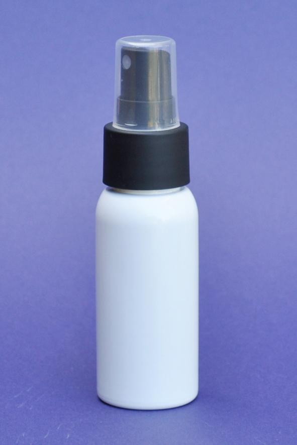 SNSET-50WBPETBFMS-50ml White Boston PET Bottle with Black Fine Mist Sprayer 24/410