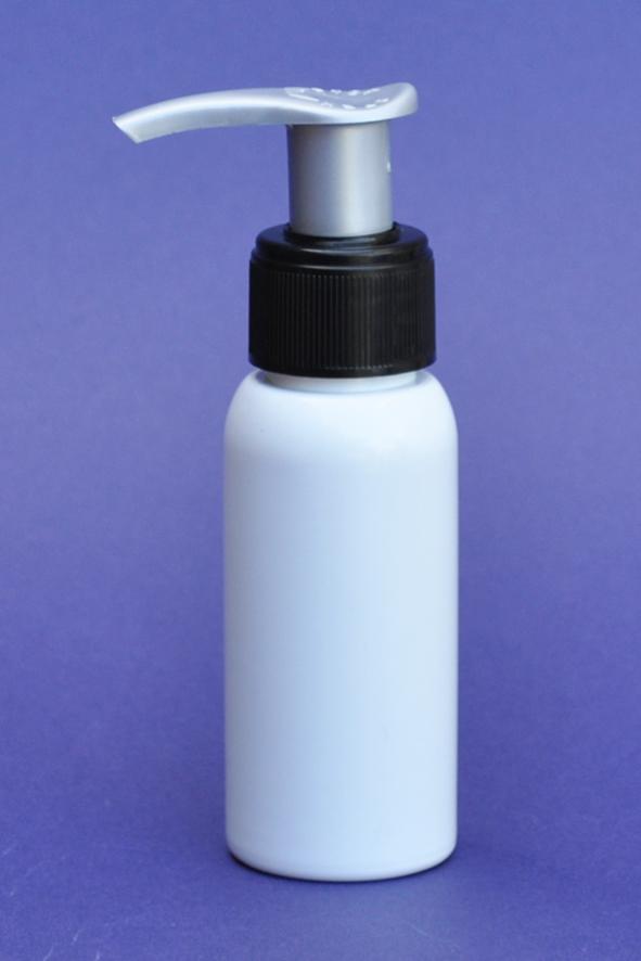 SNSET-50WBPETBSP-50ml White Boston PET Bottle with Black/Silver Pump 24/410