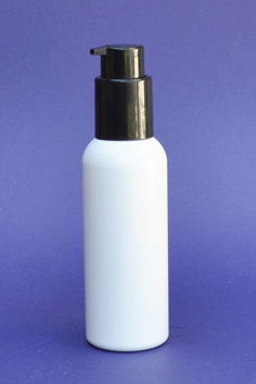 SNSET-100WBPETBSCP-100ml White Boston PET Bottle with Black Smooth Cosmetic Pump 24/410
