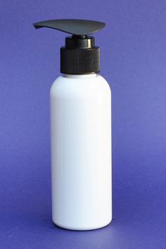 SNSET-100WBPETBWTBP-100ml White Boston PET Bottle with Black Wide Thumb Based Pump 24/410