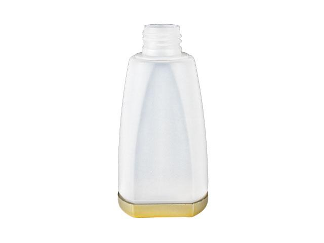 SNEP-27308-NATURAL/GOLD PLASTIC BOTTLE, 150 ML OTHER TAPERED OBLONG WITH A 24/410 FINISH, FLAT FRONT AND BACK, GOLD METALLIZED REMOVABLE BASE