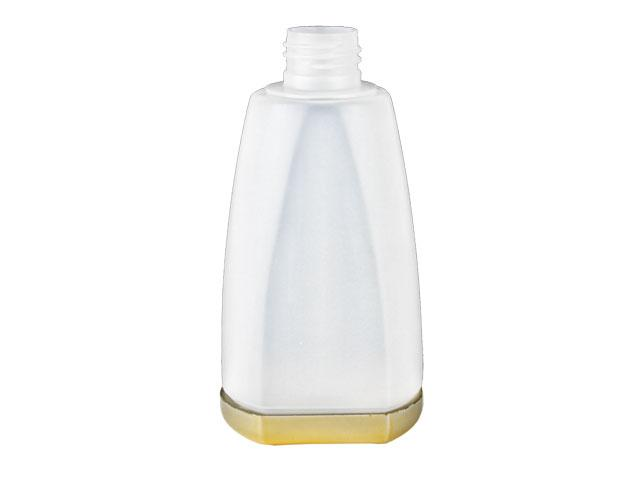 SNEP-27319-NATURAL/GOLD PLASTIC BOTTLE, 200 ML OTHER TAPERED OBLONG WITH A 24/410 FINISH, FLAT FRONT AND BACK, GOLD METALLIZED REMOVABLE BASE