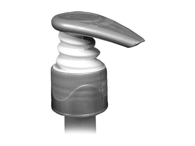 """SILVER/WHITE-LOTION PUMP, 24/410 FINISH, FINE RIBBED, 1.5cc WITH A LOCK UP HEAD AND A 4 1/16"""" DIP TUBE, WHITE BELLOWS"""